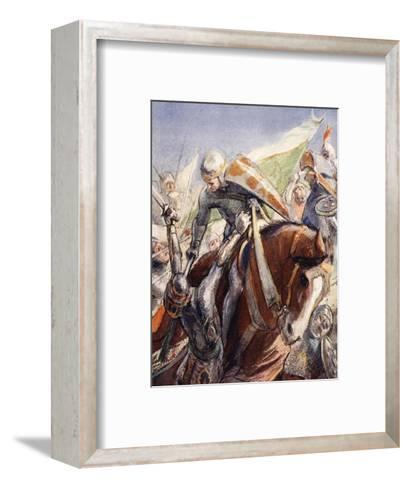 Richard Wielding His Axe Upon the Saracens--Framed Art Print