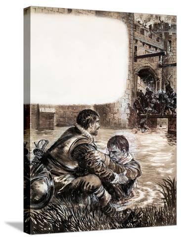 Only Two Survived the Massacre at New Brandenburg-Kenneth John Petts-Stretched Canvas Print