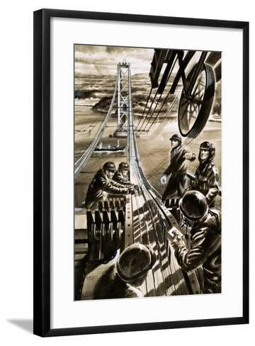 Building the Bridge across the Firth of Forth-Wilf Hardy-Framed Art Print
