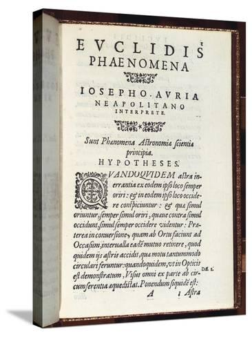 Title Page of Phaenomena- Euclid-Stretched Canvas Print