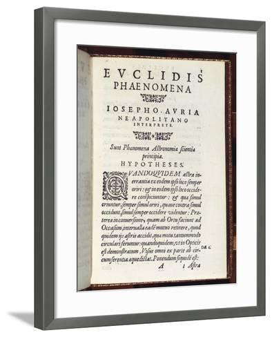 Title Page of Phaenomena- Euclid-Framed Art Print