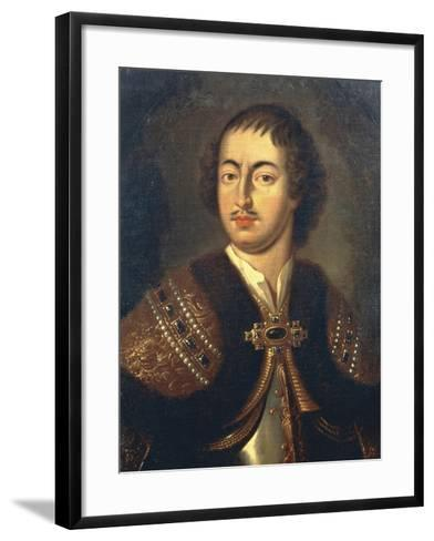 Portrait of Peter I known as Peter Great--Framed Art Print
