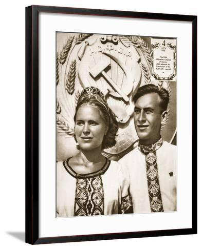 Young Soviet Man and Woman--Framed Art Print