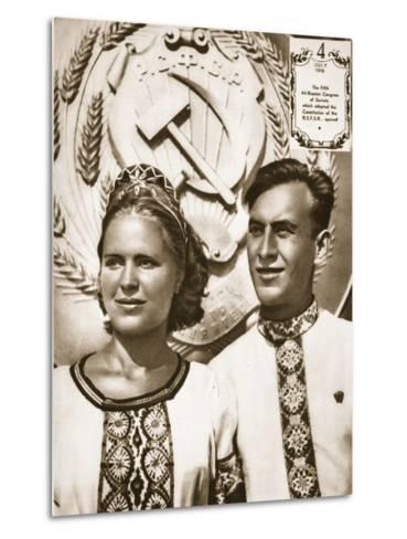 Young Soviet Man and Woman--Metal Print