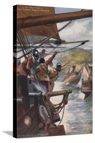 British Seizure of Jamaica from the Spanish, 1655--Stretched Canvas Print
