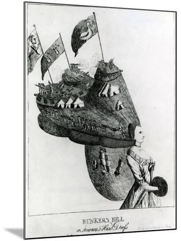 Bunkers Hill, or America's Head Dress, 1776--Mounted Giclee Print