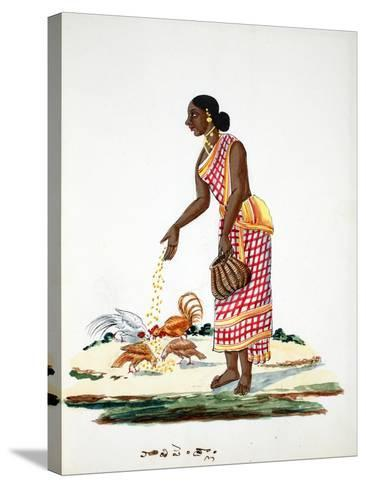Woman Feeding Chickens--Stretched Canvas Print