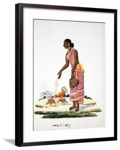 Woman Feeding Chickens--Framed Art Print