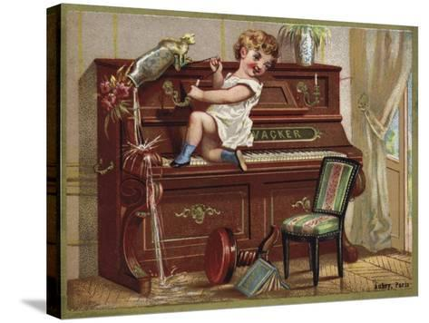 Child Playing on a Piano--Stretched Canvas Print