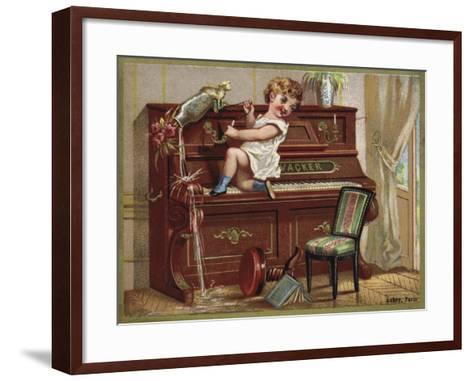 Child Playing on a Piano--Framed Art Print