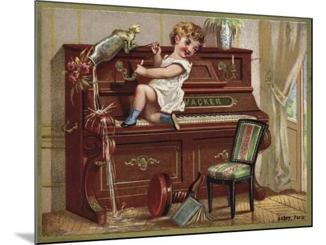 Child Playing on a Piano--Mounted Giclee Print