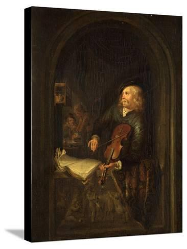 Man with a Violin-Gerrit or Gerard Dou-Stretched Canvas Print