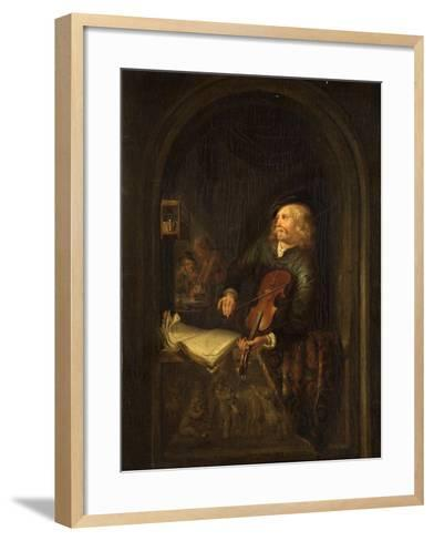 Man with a Violin-Gerrit or Gerard Dou-Framed Art Print