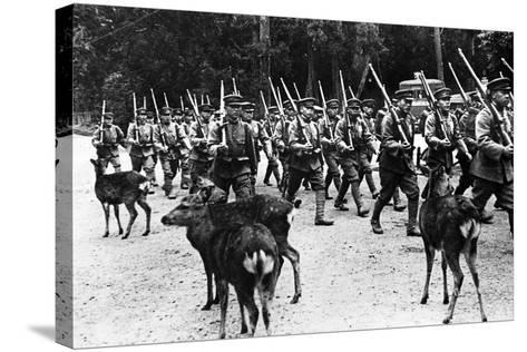 Japanese Troops Marching, C.1920-40--Stretched Canvas Print