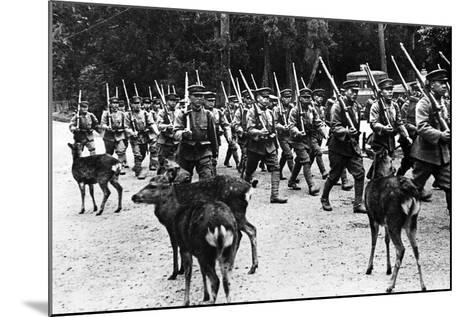 Japanese Troops Marching, C.1920-40--Mounted Photographic Print