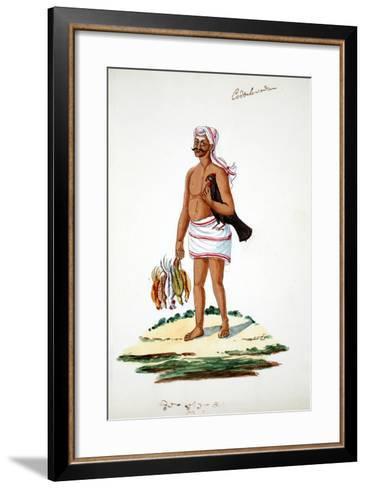 Farmer with Chickens--Framed Art Print