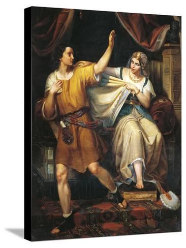 Joseph and Potiphar's Wife, 1852-Juan Urruchi-Stretched Canvas Print