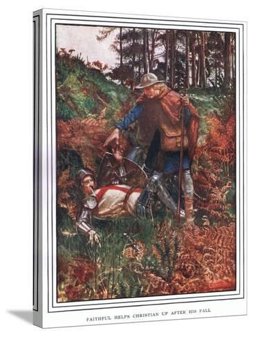 Faithful Helps Christian Up after His Fall-John Byam Liston Shaw-Stretched Canvas Print