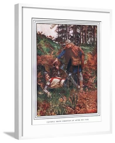 Faithful Helps Christian Up after His Fall-John Byam Liston Shaw-Framed Art Print