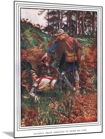 Faithful Helps Christian Up after His Fall-John Byam Liston Shaw-Mounted Giclee Print
