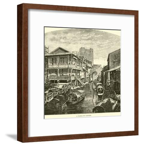 A Canal in Canton--Framed Art Print