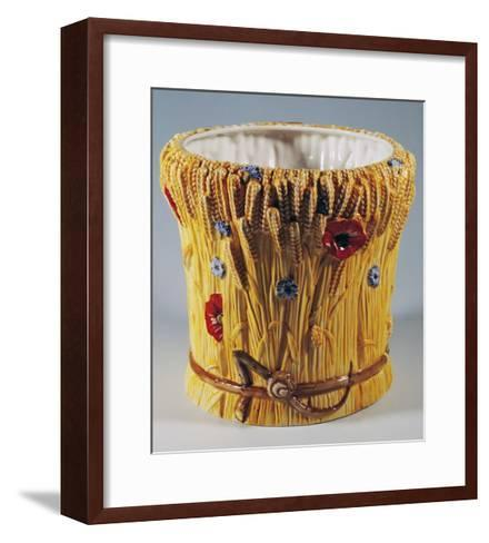 Cachepot Decorated with Poppies and Cornflowers--Framed Art Print