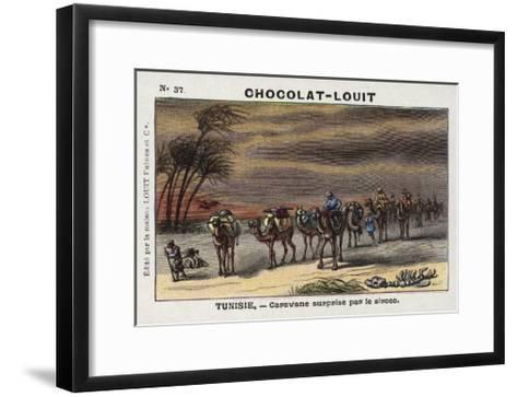 Caravan Surprised by a Sirocco, Tunisia--Framed Art Print