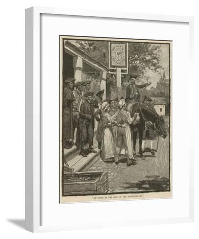 """""""He Stops at the Sign of the Weathervane""""-Howard Pyle-Framed Art Print"""
