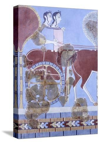 Two Women on Wagon, Fresco from Tirinto Palace--Stretched Canvas Print