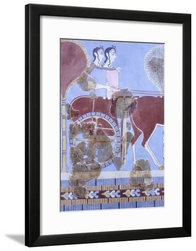 Two Women on Wagon, Fresco from Tirinto Palace--Framed Art Print