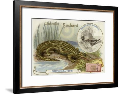 Nicrosaurus and Crocodile--Framed Art Print