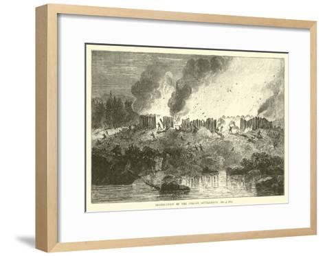 Destruction of the Pequot Settlement--Framed Art Print