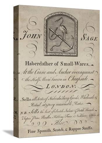 Haberdashers, John Sage, Trade Card--Stretched Canvas Print