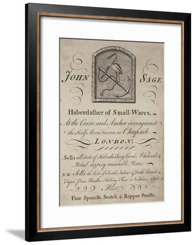 Haberdashers, John Sage, Trade Card--Framed Art Print