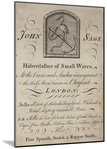 Haberdashers, John Sage, Trade Card--Mounted Giclee Print