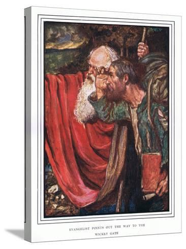 Evangelist Points Out the Way to the Wicket-Gate-John Byam Liston Shaw-Stretched Canvas Print