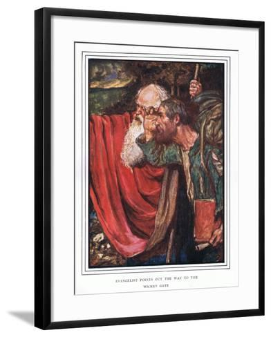 Evangelist Points Out the Way to the Wicket-Gate-John Byam Liston Shaw-Framed Art Print