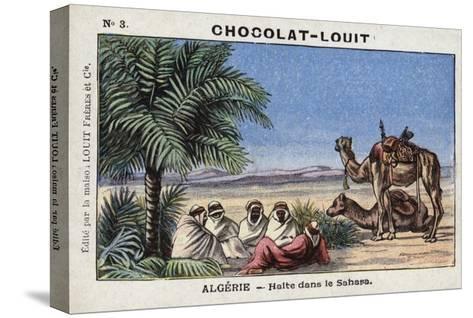 A Halt in the Sahara, Algeria--Stretched Canvas Print