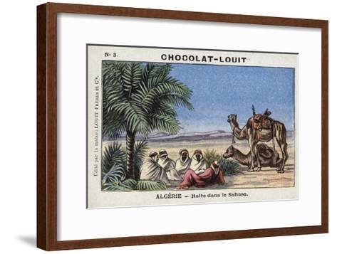 A Halt in the Sahara, Algeria--Framed Art Print