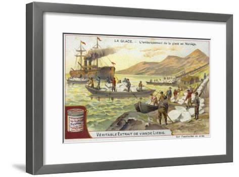 Loading Ice onto a Ship; Norway--Framed Art Print