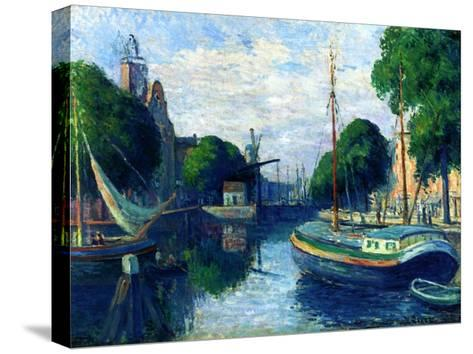 Barges on a Canal at Rotterdam, 1908-Maximilien Luce-Stretched Canvas Print