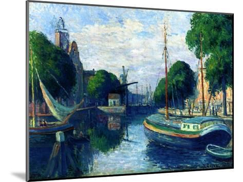 Barges on a Canal at Rotterdam, 1908-Maximilien Luce-Mounted Giclee Print