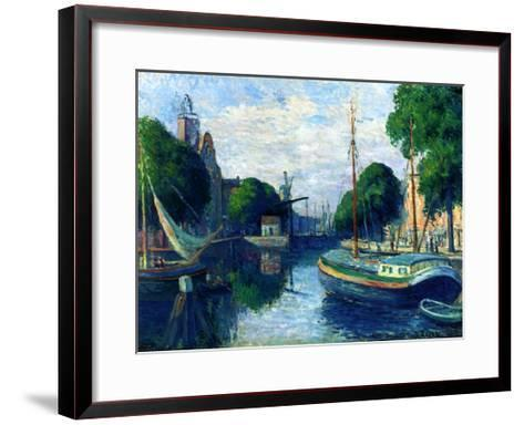 Barges on a Canal at Rotterdam, 1908-Maximilien Luce-Framed Art Print
