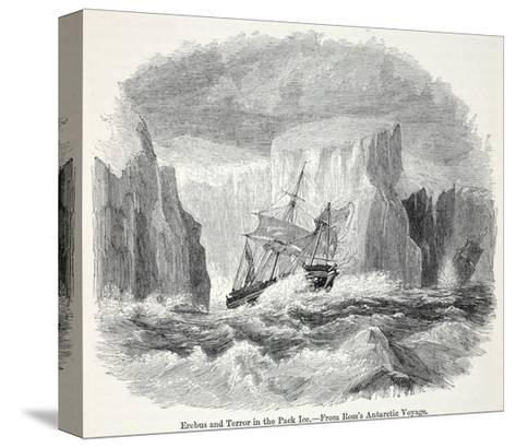 The 'Erebus' and the 'Terror' Among Icebergs--Stretched Canvas Print