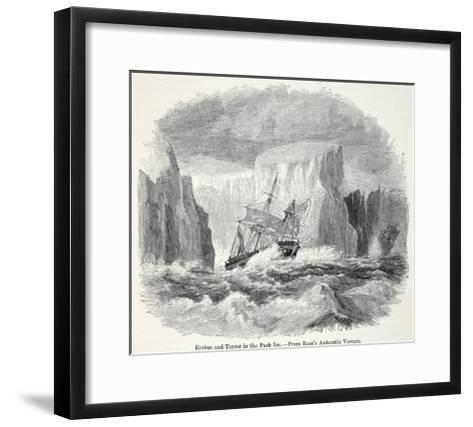 The 'Erebus' and the 'Terror' Among Icebergs--Framed Art Print