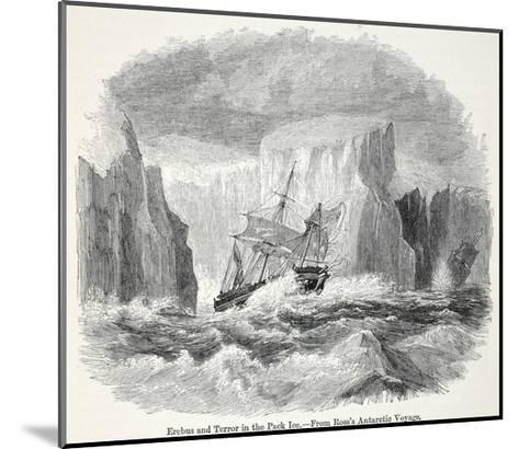 The 'Erebus' and the 'Terror' Among Icebergs--Mounted Giclee Print