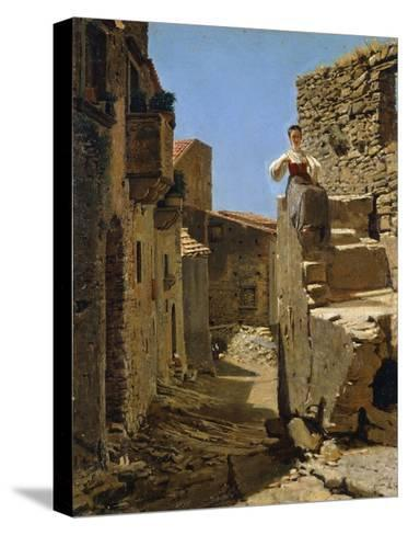 Country Road with Ruins-Filippo Palizzi-Stretched Canvas Print