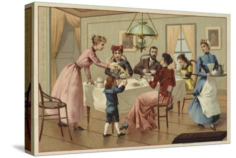 Family Drinking Chocolate--Stretched Canvas Print