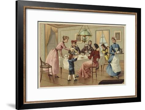 Family Drinking Chocolate--Framed Art Print