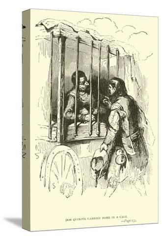 Don Quixote Carried Home in a Cage-Sir John Gilbert-Stretched Canvas Print